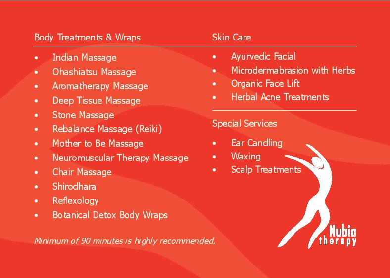 Nubia Therapy Brochure Services